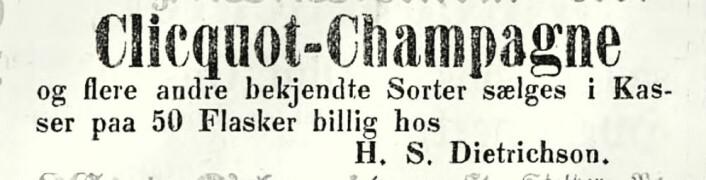 Kjøp et par kasser på 50 flasker, så har du noen uker. Morgenbladet, 1854