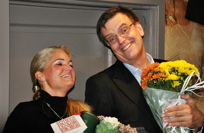 FNBs toppkandidater i Oslo, Cecilie Lyngby og Bjørn Revil, jubler over et svært godt valgresultat 9. september. Foto: Arnsten Linstad