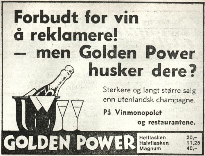 Det norske produsenten av Golden Power rakk å få inn et siste ord før forbudet inntraff. Arbeiderbladet, 1975
