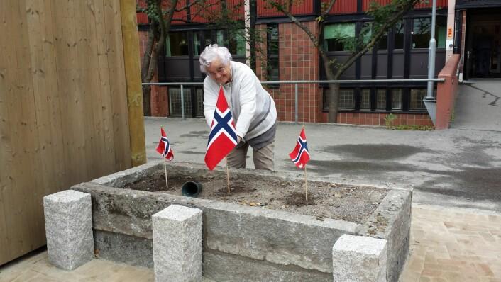 Anne på 94 år bidro til festen ved å pynte med flagg i høybedene. Foto: Mads B. Nakkerud