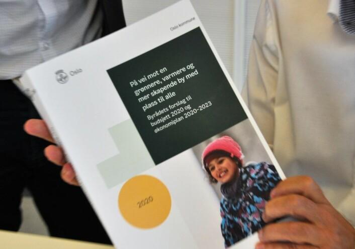� På vei mot en grønnere, varmere og mer skapende by med plass til alle, har Ap/SV/MDG-byrådet på forsiden av sitt budsjettforslag for 2020. Foto: Arnsten Linstad
