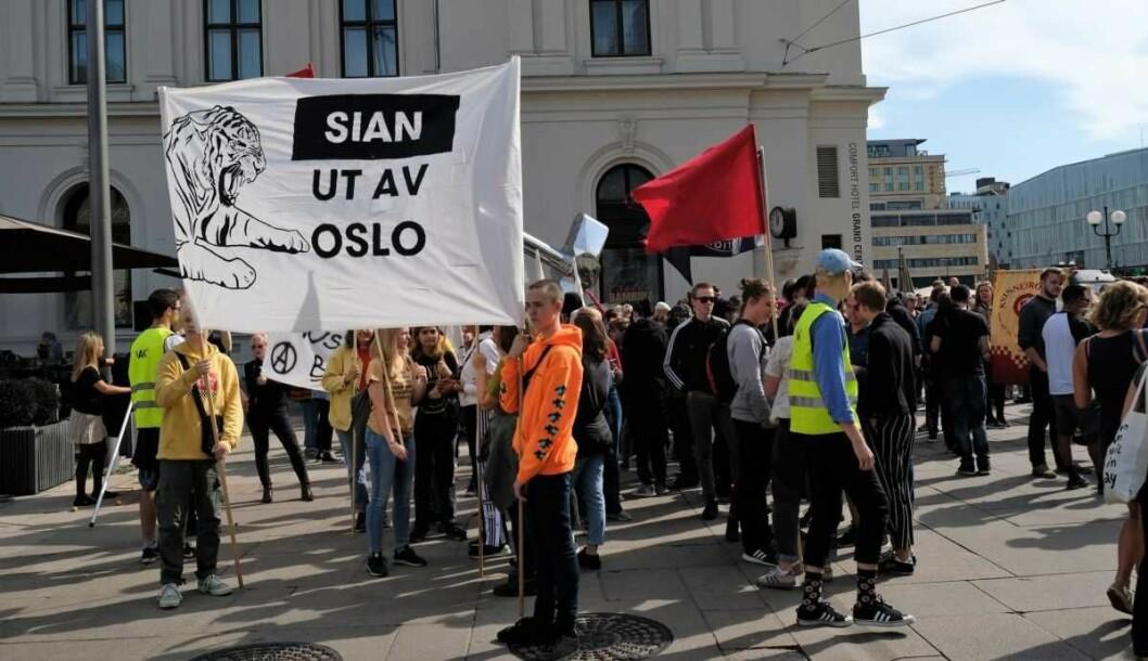 Tidligere demonstrasjon mot Sian utenfor Osls S. Foto: Christian Boger