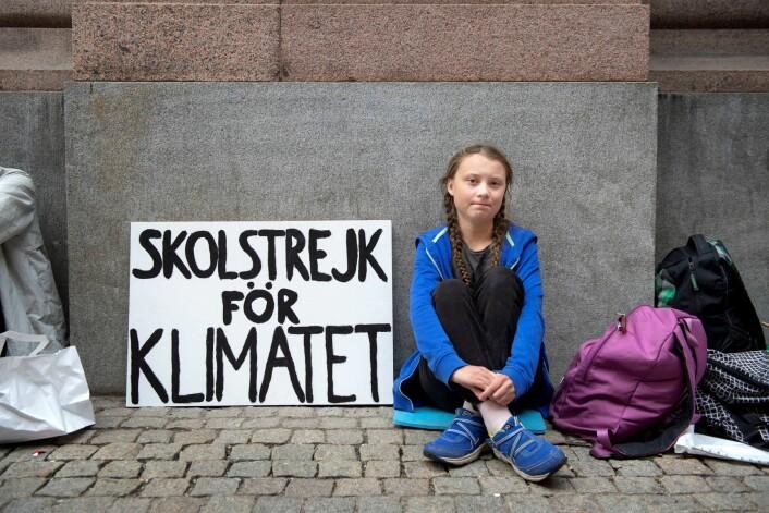 Også i Oslo Frp har Greta Thunberg lykkes med å skape engasjement rundt klimabudskapet sitt. Foto: Jessica Gow/TT Nyhetsbyrån / NTB scanpix