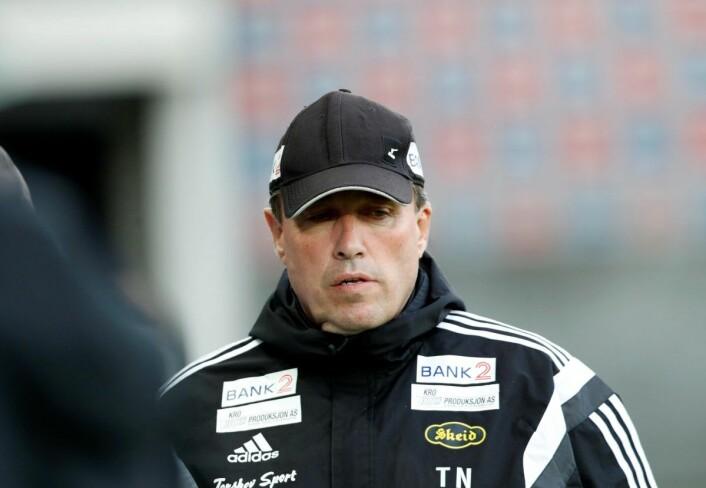 Skeids trener Tom Nordlie hevdet før kampstart at oppgjøret mot Strømmen ikke var et være eller ikke være for laget. Foto: Terje Bendiksby / NTB scanpix