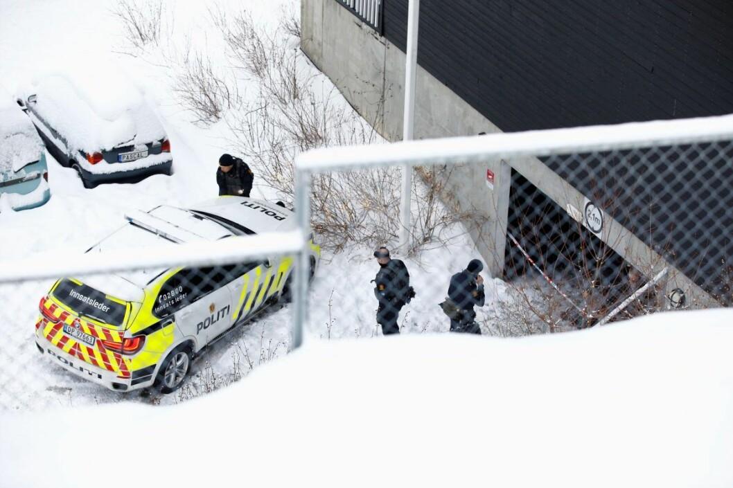 Politiet mener den drepte mannen var et tilfeldig offer ved garasjeanlegget i Sterbråtveien. Tiltalte og avdøde skal ikke ha kjent hverandre. Foto: Audun Braastad / NTB scanpix