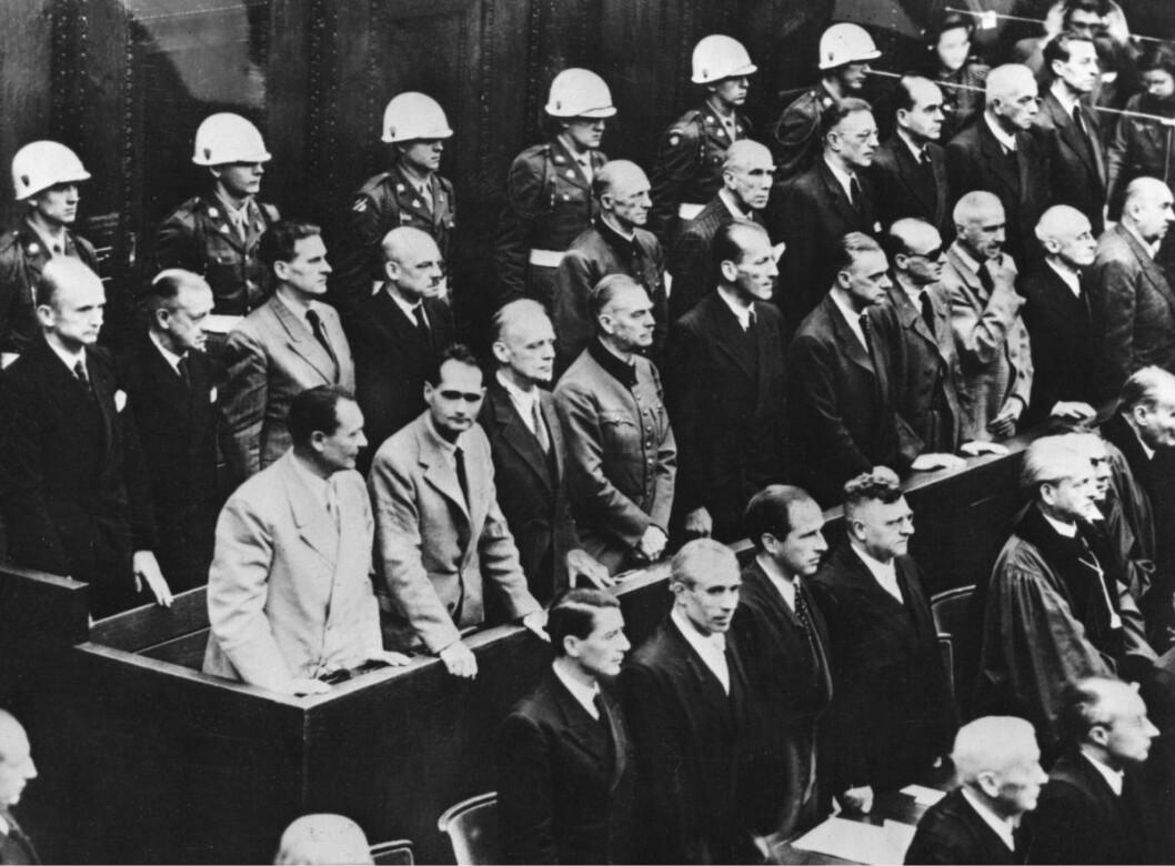 Nürnberg 1. oktober 1946.  I kjølvannet av den andre verdenskrigen 1940-45 foregikk Nürnberg-prosessen med tiltale mot de gjenlevende av de verste tyske krigsforbryterne. Arkivfoto: SCANPIX Sverige