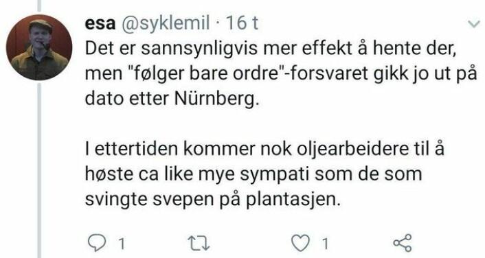 Skjermdump av twittermelding fra MDG-politiker Emil Snorre Alnæs. Melding skal nå være slettet.