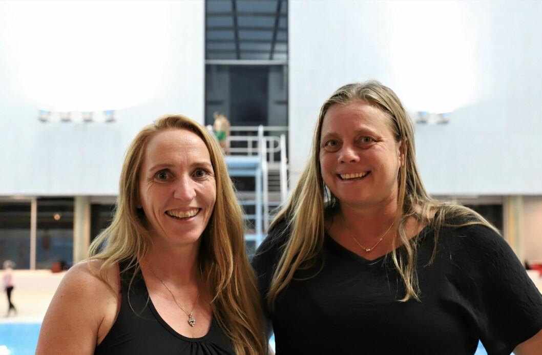 F.v. Nina Beck og Malin Gylvik. Vi har ikke gitt opp kampen for et skikkelig stupetårn, sier de. Foto: André Kjernsli