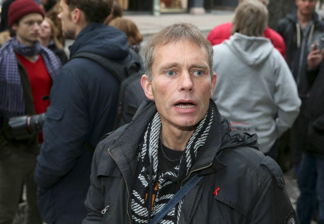 Leder av Foreningen for human narkotikapolitikk, Arild Knutsen leder delegasjonen til samtale med AP på Stortinget. Foto: Terje Pedersen / NTB scanpix