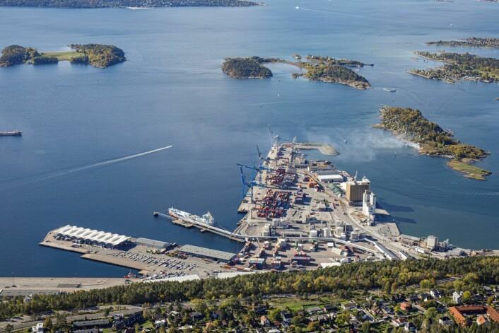 På Kneppeskjæret ved Sjursøya i Sydhavna skal CO2-fangst mellomlagres. Foto: Fortum