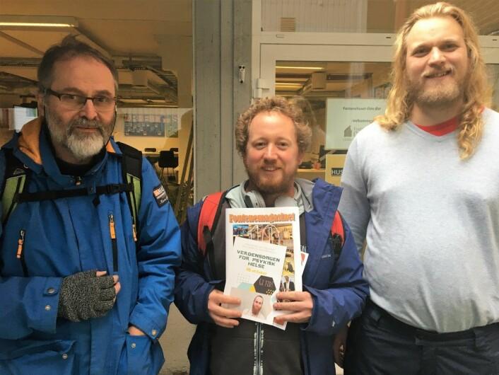 Paul Erik Norton, Christoffer Rekstad og Erik Willoch er alle medlemmer av Fontenehuset på Tøyen. Foto: Vegard Velle
