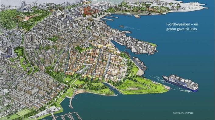 Fjordbyparken er et alternativt forslag til hvordan Filipstad kan se ut. Tegning: Ole Krogness