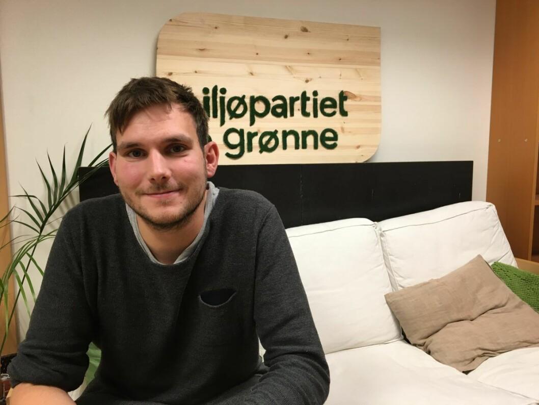 Teodor Bruu er opptatt av grønn politikk også handler om solidaritet med medmennesker Foto: Vegard Velle