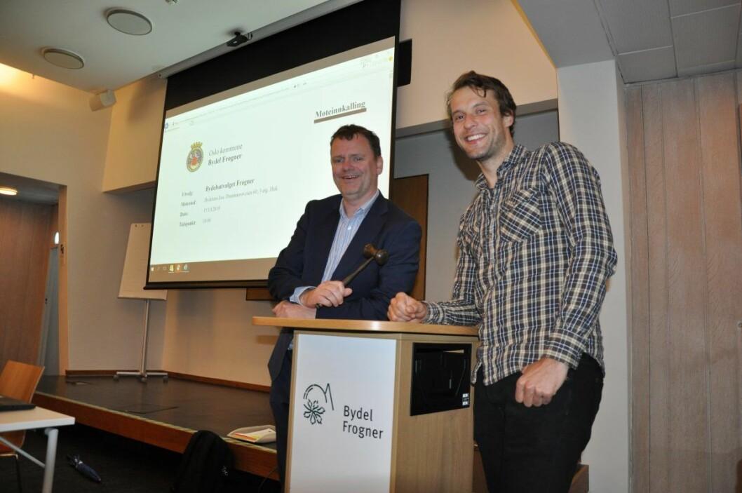 Høyre og Jens Jørgen Lie (til v.) sikres en ny periode som leder av Frogner bydelsutvalg etter å ha inngått en valgteknisk avtale med MDG og Adam Tumidajewicz. Foto: Arnsten Linstad