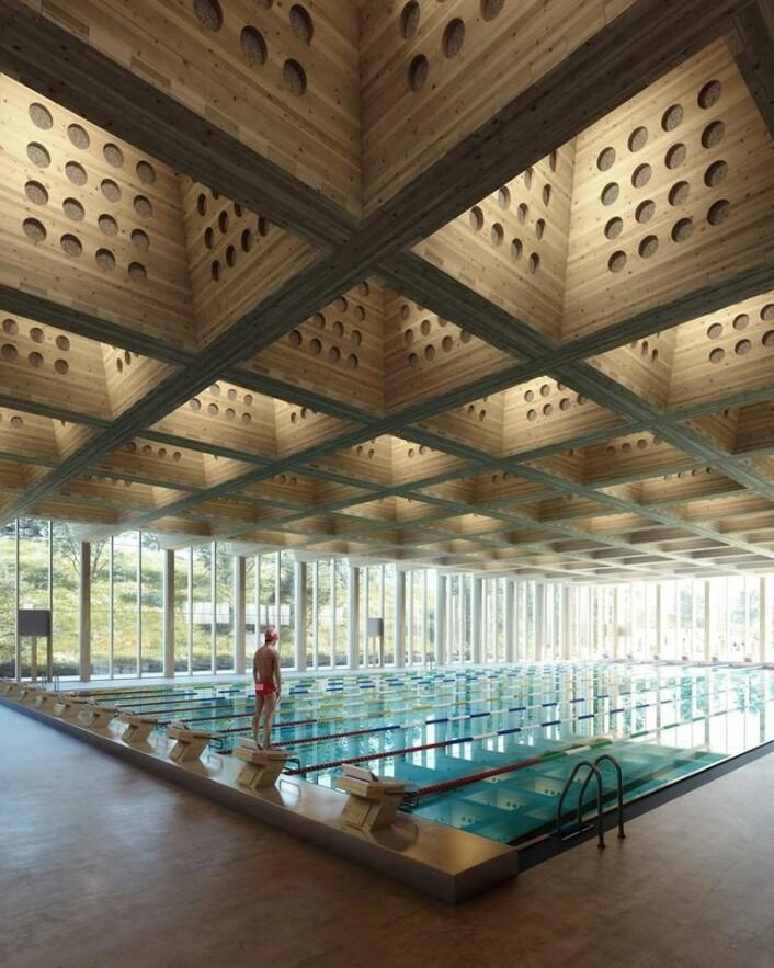 Slik vil det nye Tøyenbadet bli seende ut innvendig. Illustrasjon: Asplan Viak