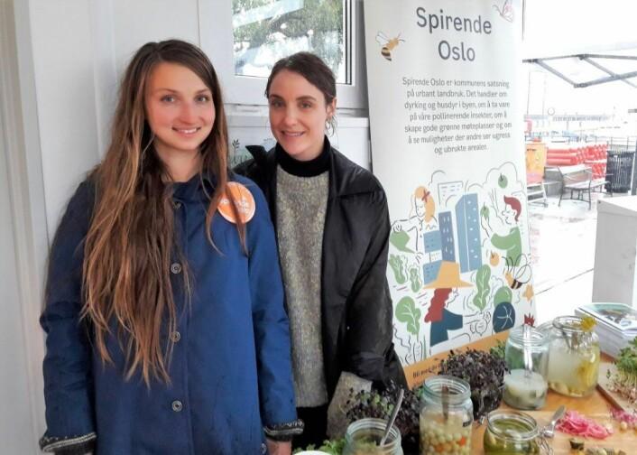 Bymiljøetatens Katrina Sjøberg og Makers Hubs Kristin Sunde er hovedarkitektene bak prosjektet Smaken av Oslo. Foto: Anders Høilund