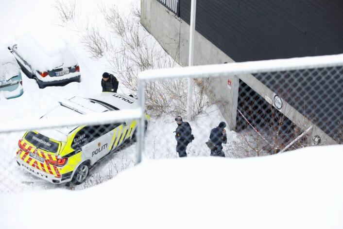 En 34 år gammel mann er i Oslo tingrett dømt til 13 år og seks måneders fengsel for et drap på Bjørndal i Oslo i mars i fjor. Drapet skjedde i dette garasjeanlegget. Foto: Audun Braastad / NTB scanpix