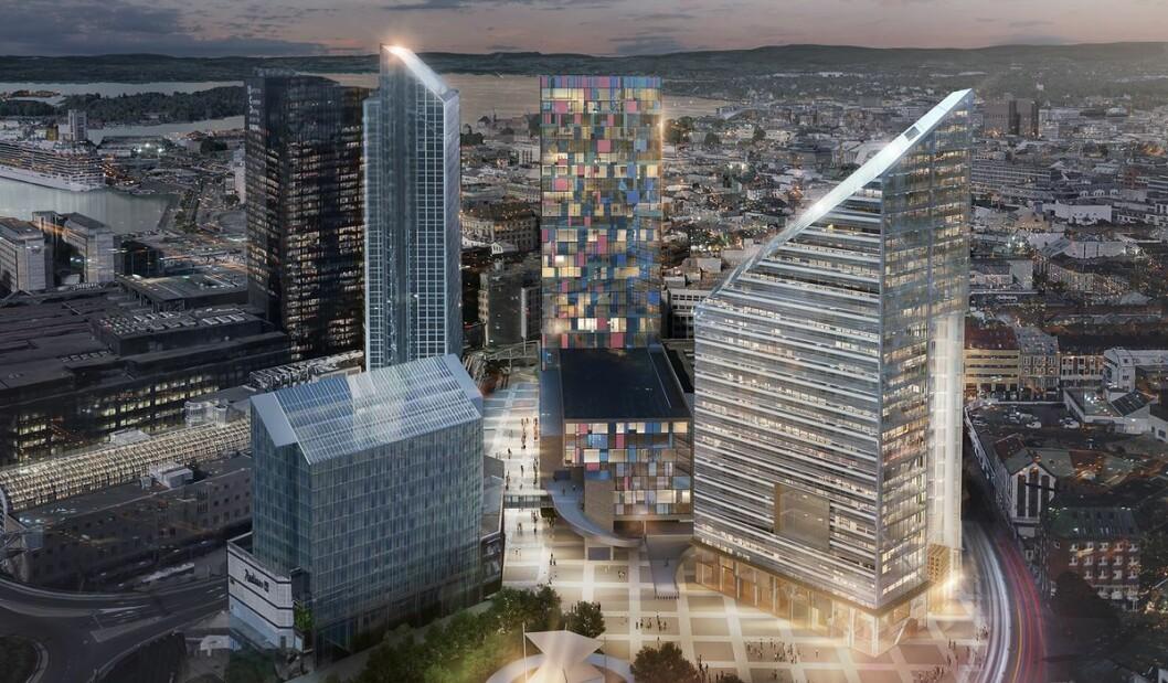 I midten av illustrasjonen kan du se hvordan nye Oslo Spektrum etter planen vil se ut. Til høyre er det planlagte bygget Oslosolar. Illustrasjon: LPO arkitekter