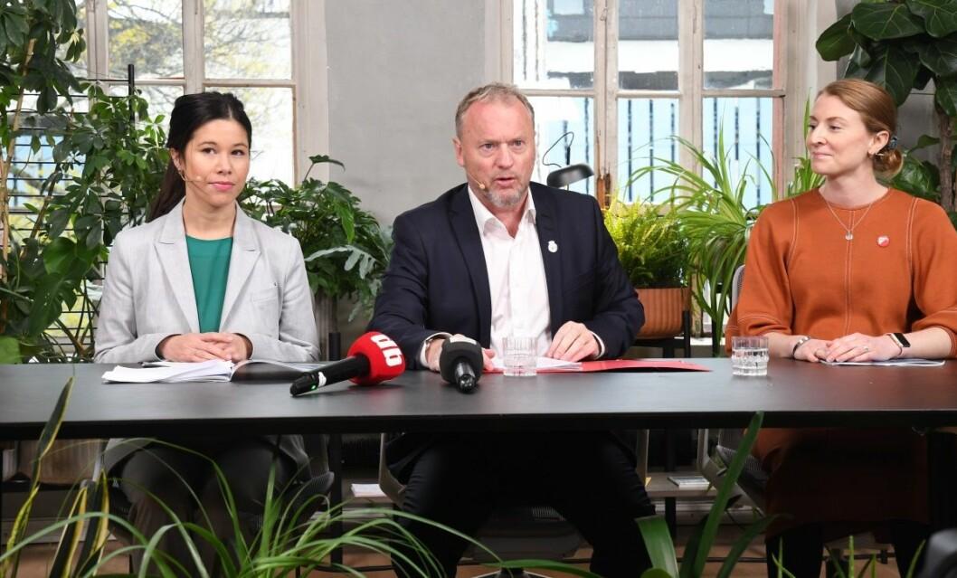 Tirsdag kunne Lan Marie Nguyen Berg, Raymond Johansen og Sunniva Holmås Eidsvoll presentere byrådets politikk for de neste fire årene. Foto: Christian Boger