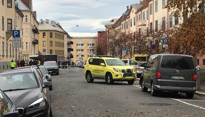 Ambulansen som ble stjålet står bak politisperringer i Krebs gate på Torshov. Foto: Mikkel Bay Vold