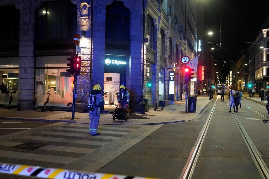 Hotell i sentrum evakueres etter en gasslekkasje. Nødetatene jobber på stedet. Foto: Fredrik Hagen / NTB scanpix