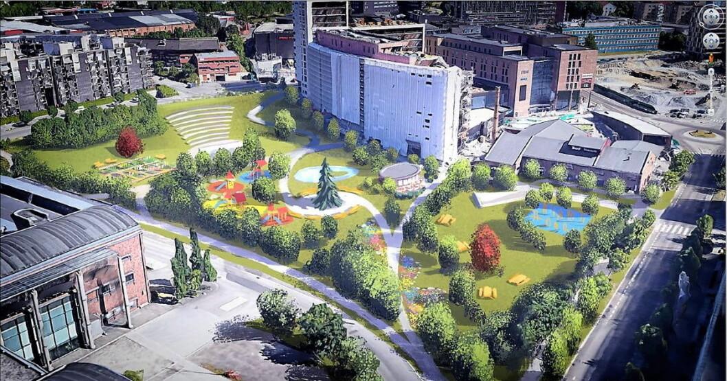 Slik ønsker aksjonisten i Nydalen at parken i Sandakerveien 113-119 skal bli seende ut. Illustrasjon: Endre Skandfer / Ja til stor park i Nydalen