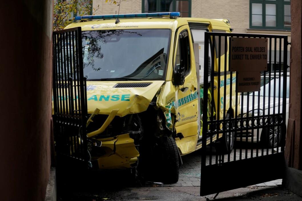 Den kaprede ambulansen ble stanset på Torshov. Foto: Håkon Mosvold Larsen / NTB scanpix
