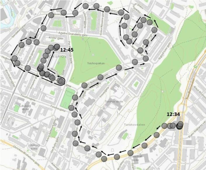 Dette var ruta den kaprede ambulansen kjørte på Rosenhoff og Torshov. Kart: Oslo politidistrikt