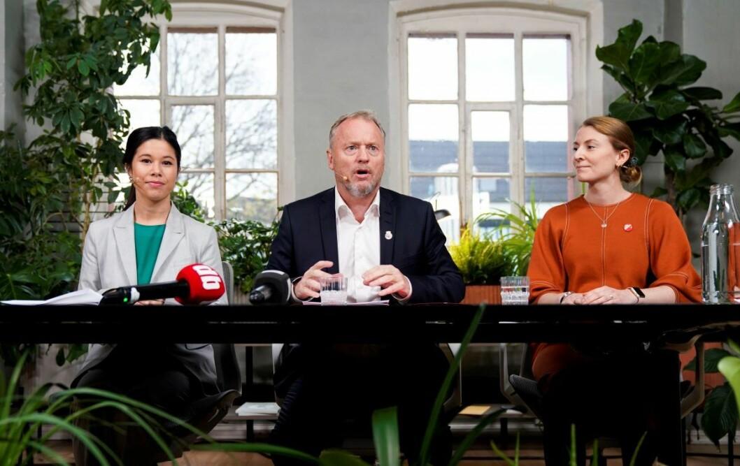 I byrådserklæringen fra Ap, MDG og SV åpnes det for å kunne gå inn for en boikott.  Fra venstre; Lan Marie Berg (MDG), Raymond Johansen (Ap) og Sunniva Holmås Eidsvoll (SV) da byrådserklæringen ble presentert sist uke. Foto: Håkon Mosvold Larsen / NTB scanpix