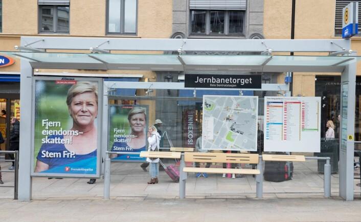 – Kommersielle reklamemontere dukker opp i bybildet. Disse sender et alvorlig signal om at kun de pengesterke får lov til å uttrykke seg i det offentlige rom, mener skribenten. Foto: Terje Pedersen / NTB scanpix