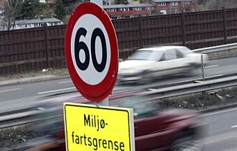 Miljøfartsgrensen på 60 km/t gjeninnføres fra mandag