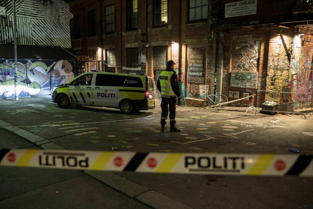 Politiet på stedet etter hendelsen ved Blå på Grünerløkka i november 2018. Foto: Vidar Ruud / NTB scanpix