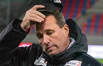 Fortvilet og trist Tom Nordlie etter at straffespark på overtid sendte Skeid ned i andredivisjon