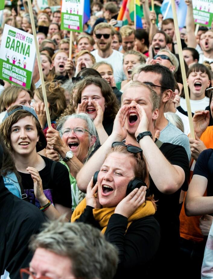 Klimabrølet utenfor Stortinget. Foto: Berit Roald / NTB scanpix