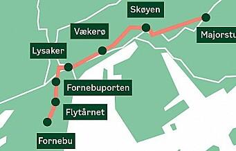 Rundt 160 eiendommer i Oslo og 40 i Bærum blir berørte når Fornebubanen bygges. Ni boliger må rives