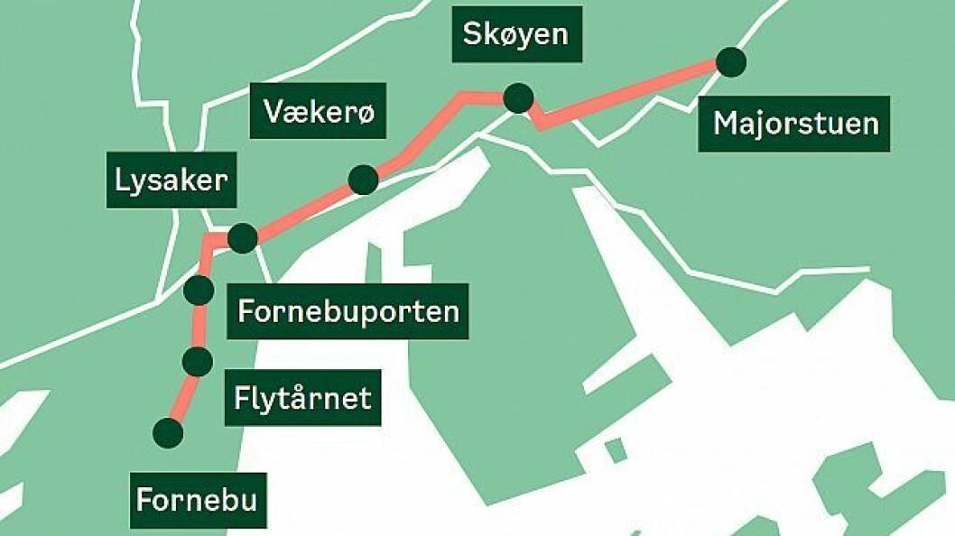 Fornebubanen får seks nye stasjoner, tre i Bærum og tre i Oslo. Rundt 200 eiendommer blir berørt. Illustrasjon: Fornebubanen