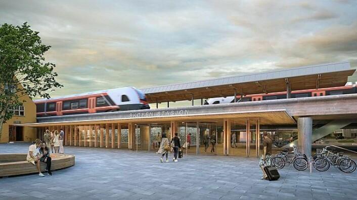 Nye Skøyen stasjon.<br />Illustrasjon: Gottlieb Paludan Architects og L2 Arkitekter