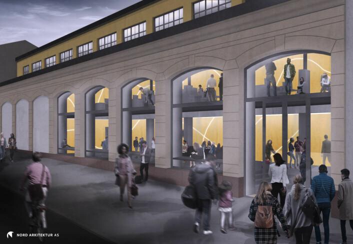 Slik så arkitektene for seg at Kulturstedet ville blitt seende ut fra utsiden. Illustrasjon: Nord arkitektur