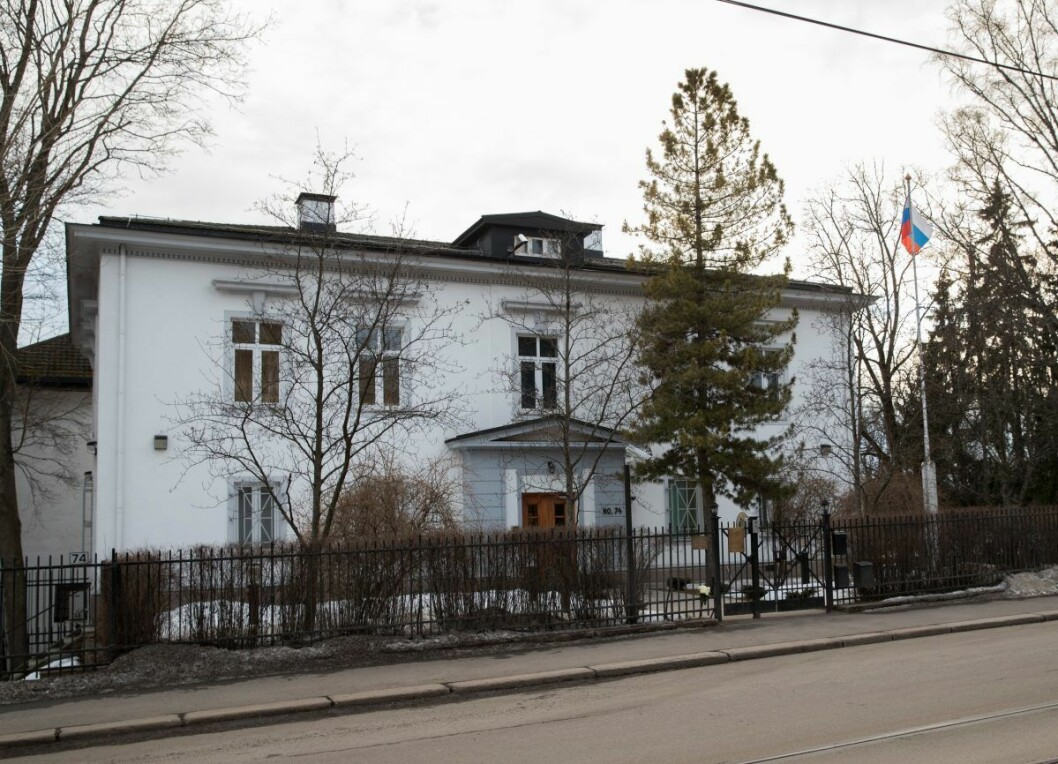 Ambassadebygningen nærmest Drammensveien ble oppført som tysk kanselli i 1926, og ble tegnet av Oscar Hoff. Like etter andre verdenskrig ble bygningen beslaglagt av den norske stat og stilt til disposisjon for Sovjetunionen. Foto: Terje Bendiksby / NTB scanpix