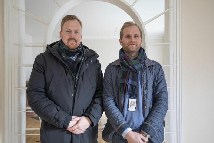 Trond Borge Ottersen (t.v.) og Lars Eriksen (t.h.) fra Undervisningsbygg kan forsikre om at bygget er godt ivaretatt. Foto: Olav Helland