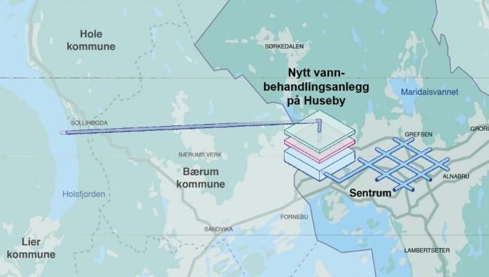 Slik ser vann- og avløpsetaten for seg reservevannsløsningen for Oslo, som ble vedtatt av bystyret. Illustrasjon: Oslo kommune