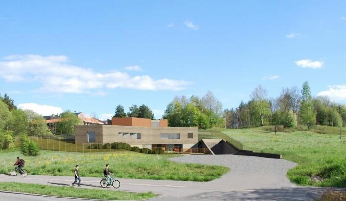 Blomsterjordet på Huseby blir ofret som friområde for å gi plass til driftsbygning for Oslos nye reservevannløsning. Illustrasjon: Oslo kommune