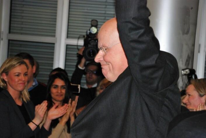 Michael Tetzschner en sentral skikkelse i Oslo-politikken gjennom flere tiår. Her strekker han armene i været etter seier i nominasjonskamp mot Fabian Stang. Foto: Arnsten Linstad
