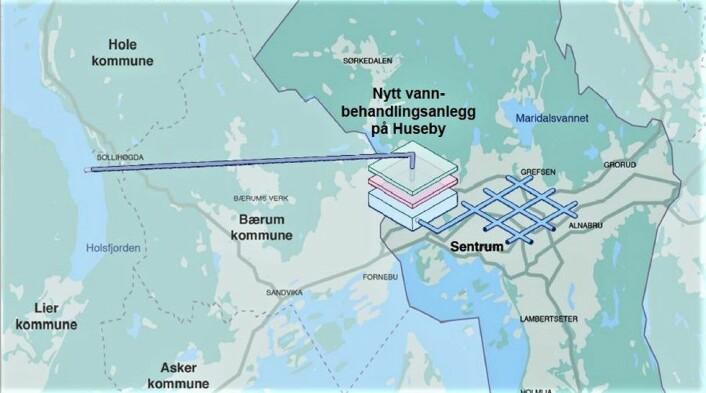 Slik ser vann- og avløpsetaten for seg reservevannsløsningen for Oslo, som ble vedtatt av bystyret. Illustrasjon: Vann- og avløpsetaten