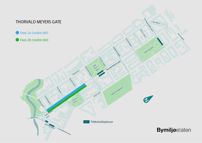 Strekningen markert med blått og grønt i gaten markerer området for Fase 2. Illustrasjon: Bymiljøetaten