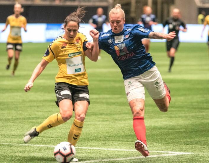 Det ville seg ikke for Marie Dølvik Marcussen og resten av Vålerenga-laget i første omgang Foto: Bjørnar Morønning