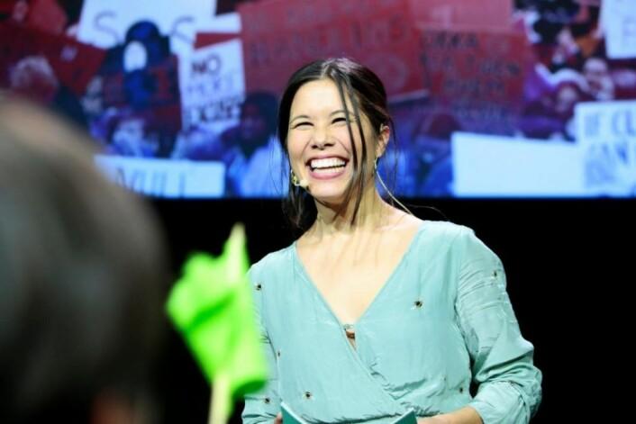 MDG gjorde et brakvalg i høst, og her feirer Lan Marie Nguyen Berg valgseieren i Oslo under partiets valgvake. Foto: Håkon Mosvold Larsen / NTB scanpix