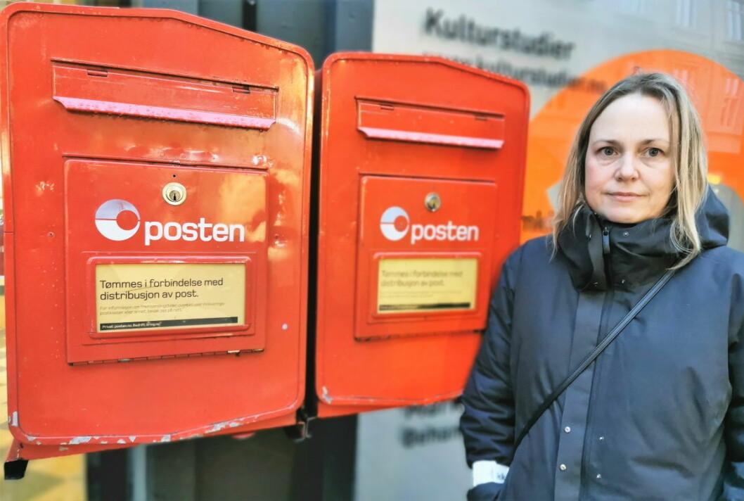 Etter at postkontoret på Grünerløkka stengte i slutten av oktober, er et par postkasser eneste tilbud til beboerne sentralt i bydelen.  � Posten burde finne noe bedre, mener Venstre-politiker Anita Wold. Foto: Christian Boger