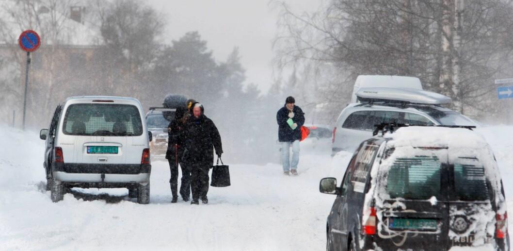 Snø og vintervær over Solbergliveien på Oppsal i Oslo. Illustrasjonsfoto: Jon Eeg / Scanpix