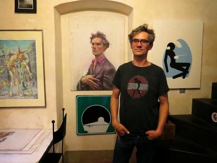 Clet Abraham i sitt studio i Firenze. LivornoDP / Wikipedia